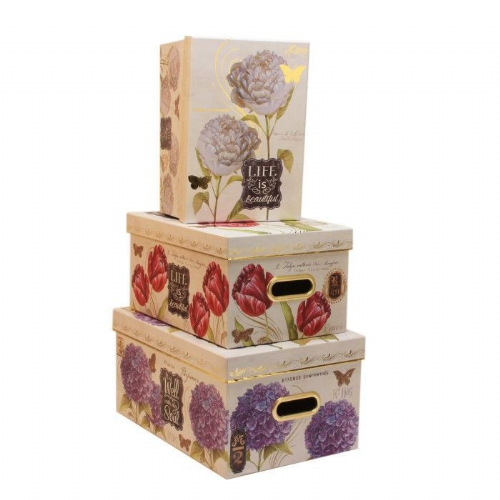 Tri-Coastal Designs Floral Botanicals Sets Of 3 Trunk Style Wardrobe Storage Boxes - Pretty Floral Storage Boxes
